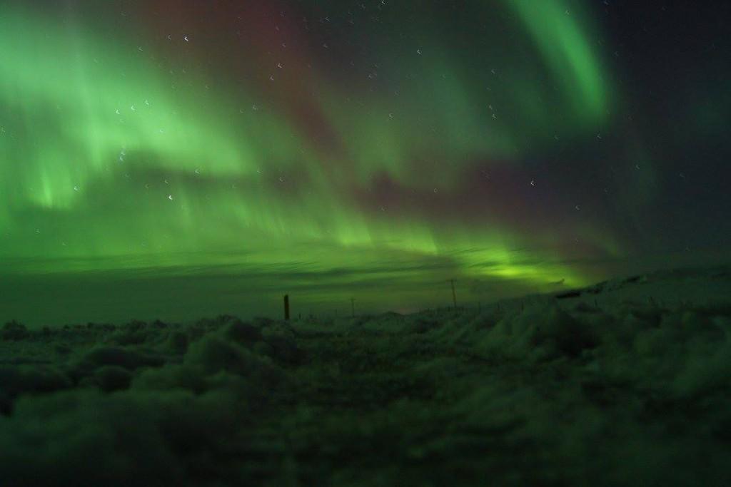 Polarlichter in Island (in der Nähe von Kirkjubæjarklaustur) am 6. März 2016 © J.K.