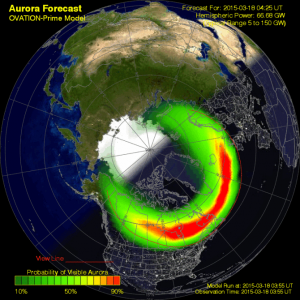 Aurora 30 Minute Forecast 18.03.2015 © Space Weather Prediction Center